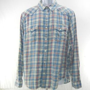 Lucky Brand Western Shirt Plaid Men's Size Large